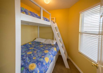 The third bedroom has a twin-over-full bunkbed.